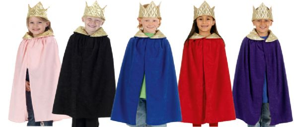 Children's Boys and Girls King & Queen Cloak Robe Cape Nativity Wise Man Fancy Dress Costume